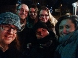 Photo of Mike Kestemont, Francesco Mambrini, Maria, Ulrike Wuttke, Marco Passarotti and Greta, Digital Classicist Berlin, 16.02.2016