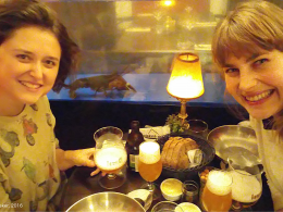 Photo of Elli Bleeker and Greta at dinner after Greta's invited talk at the University of Antwerp on 23.11.2016.